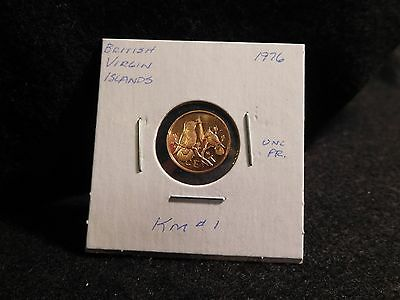 British Virgin Islands:  1976  Cent Coin  Proof Hc  (Unc.)  (#2536)  Km # 1