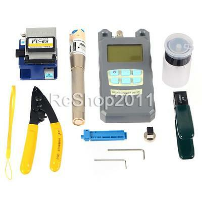 Fiber Optic FTTH Tool Kit w/ FC-6S Cleaver Optical Power Meter Visual Finder US