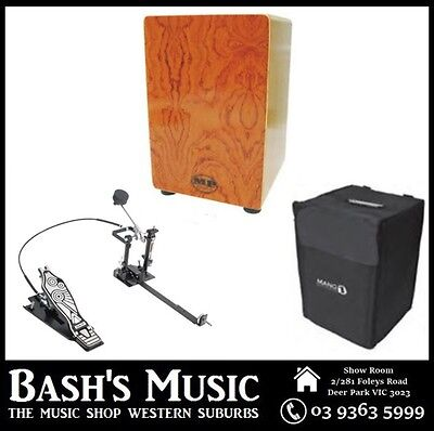 MP Drummers Cajon Rosewood with Carry Case with DXPCP20 Kick Pedal