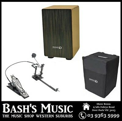 MP Drummers Cajon Ebony with Carry Case with DXPCP20 Kick Pedal