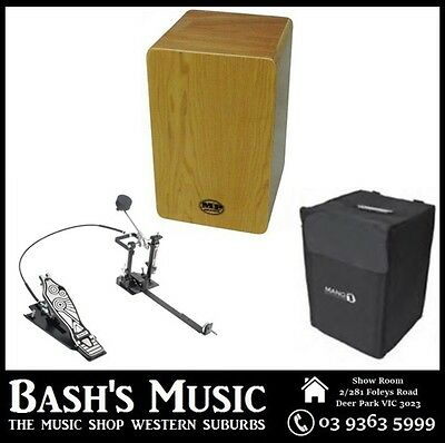 MP Drummers Cajon Maple with Carry Case with DXPCP20 Kick Pedal