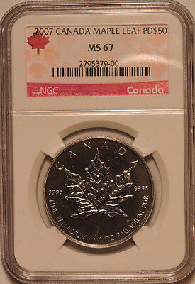 2007 Canada 1oz. Palladium Maple Leaf PD$50 NGC MS67 Low Mintage
