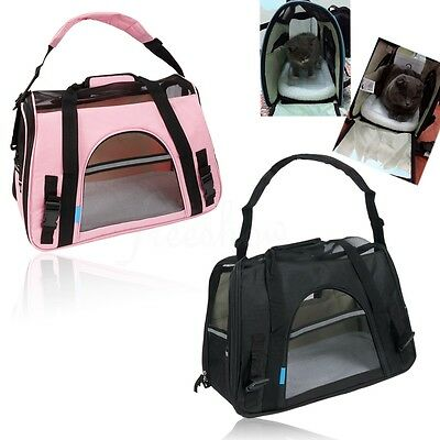Pet Carrier Oxford Soft Sided Bag Small Cat Dog Travel Tote Handbag Collapsible