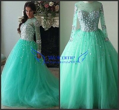 Sparkly Sequins Long Sleeve Ball Gown Prom Quinceanera Formal Pageant Dresses