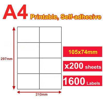 200 x A4 Sticker Paper Mailing Address Laser Inkjet 74.2x105mm 8 Labels per page