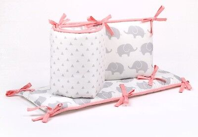 The Peanut Shell Elephant & Triangles Cot Bumper