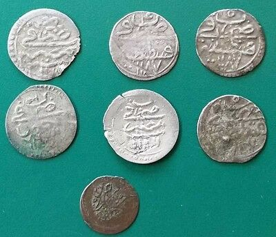 SET of 7pcs Sultan ABDULHAMID I AH1187-AD1775 OTTOMAN SILVER Para Akce COINS