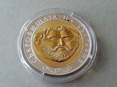 RARE 2005 Treasures of Bulgaria:The Gold Mask 10 levs Silver coin gold-plated
