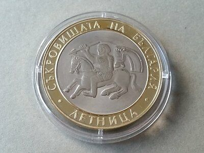RARE 2006 Treasures of Bulgaria: Letnitsa 10 levs Silver coin gold-plated