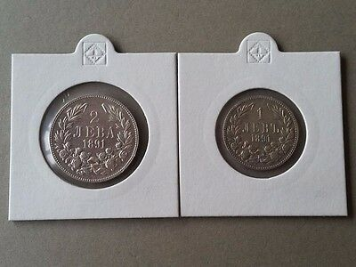 GENUINE Collectible SET of 2 silver coins 1 and 2 levs from 1891 BULGARIA