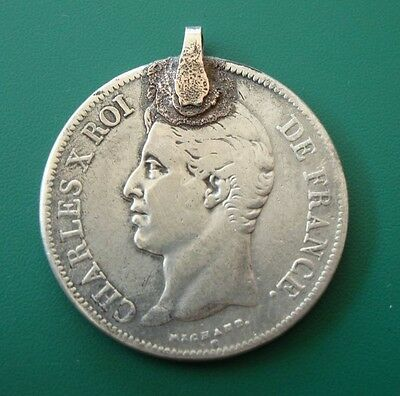 COLLECTIBLE! French silver medallion-coin 5 franc Charles X roi de france 1827