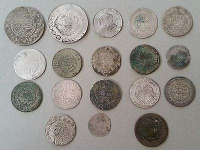 COLLECTIBLE LOT 18pcs Mix OTTOMAN TURKISH ISLAMIC Medieval SILVER COINS 26 grams