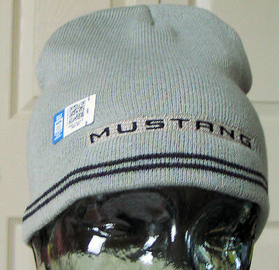 Ford Mustang Beanie hat knitted grey - great xmas gift! 'One Size Fits All!'