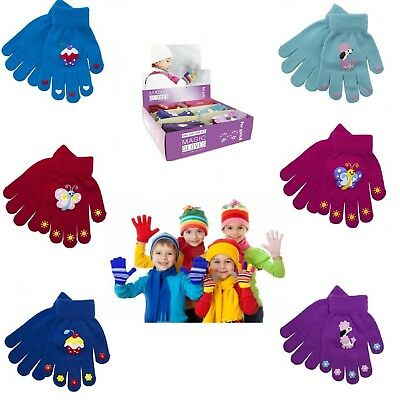 Kids Children Gloves Magic Small Boys Winter Multi Stripe Thermal Warm Stretchy