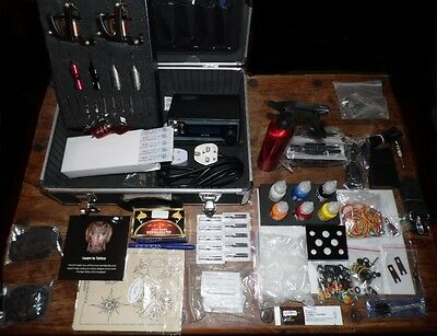 Uk Top Quality Professional Cased Tattoo Kit 2 Coil Machines, Rotary Ink Needles