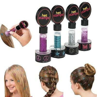 Free Shipping!!! Hot Stamps Hearts and Stars Hair Glitter Kids Beauty Hair Decor