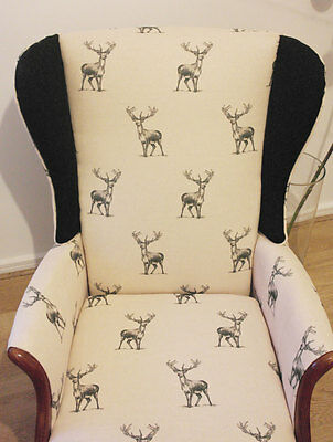 Parker Knoll wing back armchair in stag print lounge statement office chair