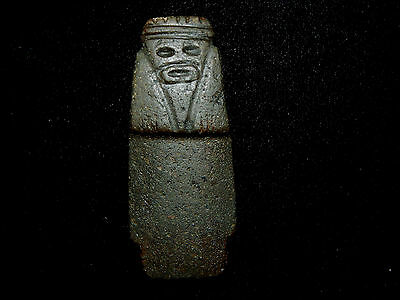 Pre-Columbian Axe God Pendant with Crouching Knees on Custom Stand, Authentic