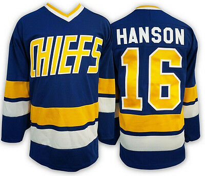 Ice Hockey Jersey Jack Hanson 16 Charlestown Chiefs Blue