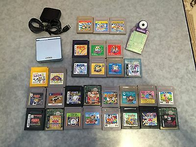 Nintendo Game Boy Advance SP Console + soft lot of 29 mario pokemon GBA