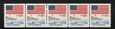 #1891 PL #3 18¢ Flag & Anthem Sea to Shining PNC 5 Plate Number Coil Stamp Strip