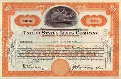 United States Lines Company 1949 New Jersey Hoboken Hermes Luna 100 Shares