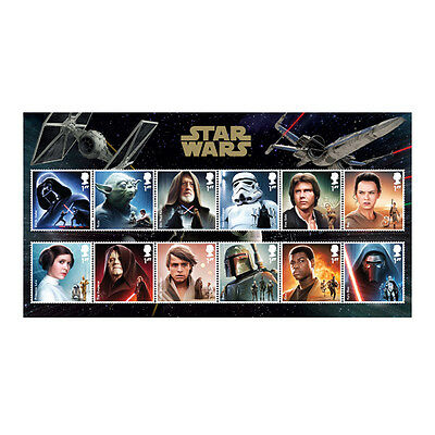 "12 NEW STAR WARS Stamps with free UK postage ""The force awakens-edition"""