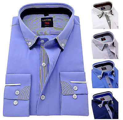 Men's Plain Cotton Shirts Button down double collar Formal Casual Long sleeve