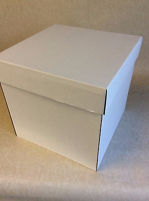 "14"" Square Tall Cake Boxes -  2 piece white cake card boxes"