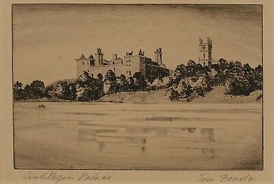 Original Signed 20th Century Etching, Linlithgow Palace, Scotland, Mounted
