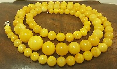 Necklace Natural Baltic Amber Stone 40,7g Butterscotch Egg Yolk White Old R-817
