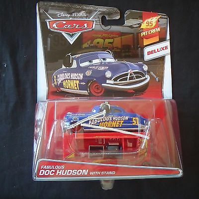 disney pixar  cars Deluxe Fabulous Doc Hudson with stand 95 Pit Crew    new