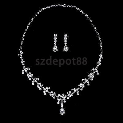 Bridal Wedding Party Jewelry Crystal Rhinestone Diamante Necklace Earrings
