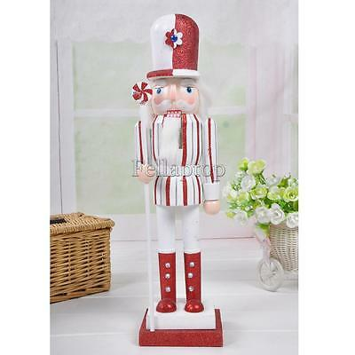 Handpainted Nutcracker Candy Cane Man Wooden Statue Xmas Holiday Decor 38cm