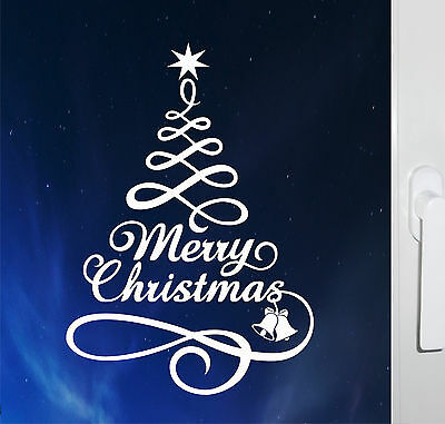 2 x Merry Christmas Tree Self Cling Reusable Sticker Decal Window Decorations