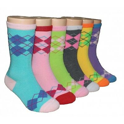6 Pairs Kids Argyle Design Crew Socks