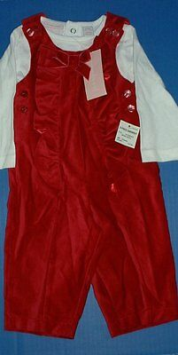 First Impressions 2pc Berry Patch Red Velveteen Holiday Romper White Top 3-6M