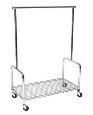 Adjustable Height Commercial Rolling Clothing Garment Display Rack w/ Shelf