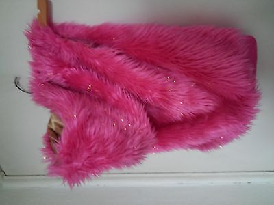 bratz Girls Pink/gold  Faux Fur Gilet/Waistcoat Size 8-9 Years with hood vgc
