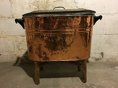 Vintage Copper Boiler /Wash Tub With Lid And Wooden Handles ~ Antique ~