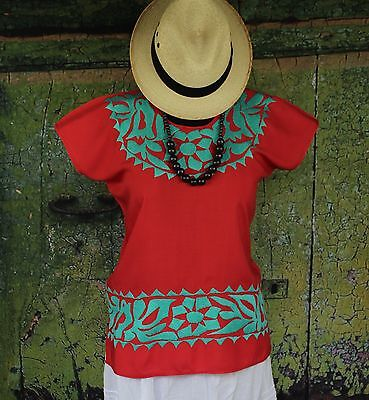 Hand Embroidered Red & Turquoise Huipil / Blouse, Jalapa Mexico Hippie Cowgirl