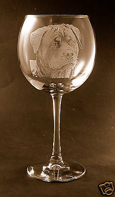 New! Etched Rottweiler on Large Elegant Wine Glass