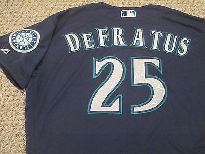 Justin DeFratus SZ 48T #25 2016 Seattle Mariners game jersey Road Navy MLB