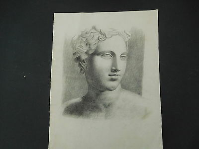Fine Antique Pencil Drawing of a Mans Head