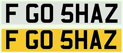 Personalised Private Number Plate 'GO SHAZ' Shauna, Sharon, Shazza