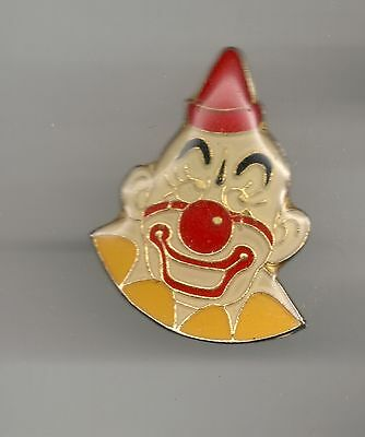 Vintage Bald Headed Red Nosed Clown old enamel pin