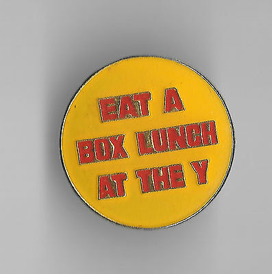 Vintage EAT A BOX LUNCH AT THE 'Y' old enamel pin
