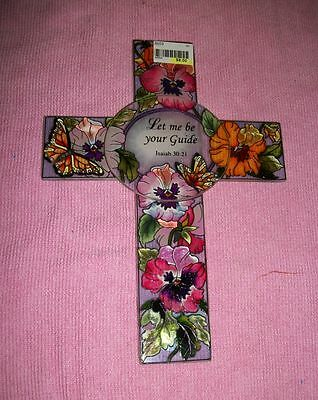 """AMIA Handpainted Stained Glass """"Let Me Be Your Guide"""" Isaiah 30:21 Cross-New"""