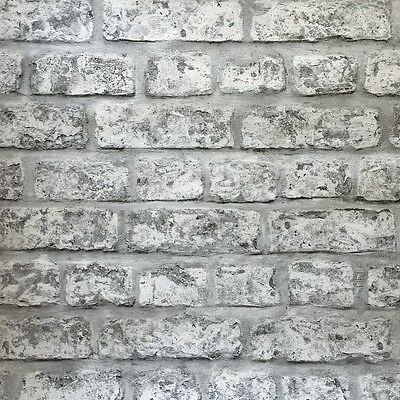 Arthouse Grey White Rustic Old Brick Wall Quality Feature Wallpaper 889606