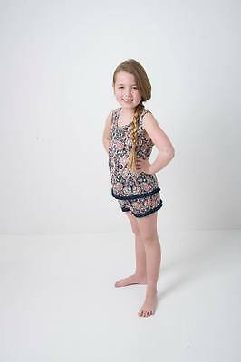 BNWT Girls printed fringed vest and short set 4 Years